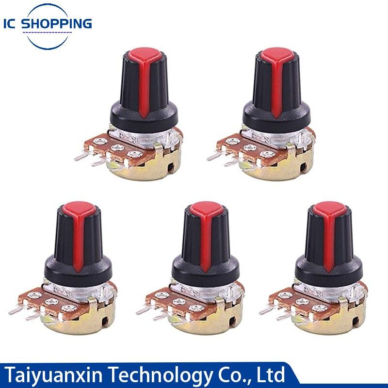 5PCS WH148 Single Linked Potentiometer with Cap B1K 2K 5K 10K 20K 50K 100K 500K 1M Handle Length 15mm Adjustable Resistance