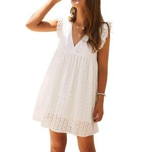 Женское кружевное короткое платье с v-образным вырезом и рукавом в виде листа лотоса, Белый Свободный мини-сарафан для лета, пляжные праздни...