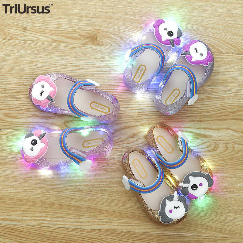 2020 New Children's Led Shoes Baby Girl Summer Sandals Mini Melissa Bowtie Unicorn Kids Girls Jelly Shoes Toddler Flat Shoes