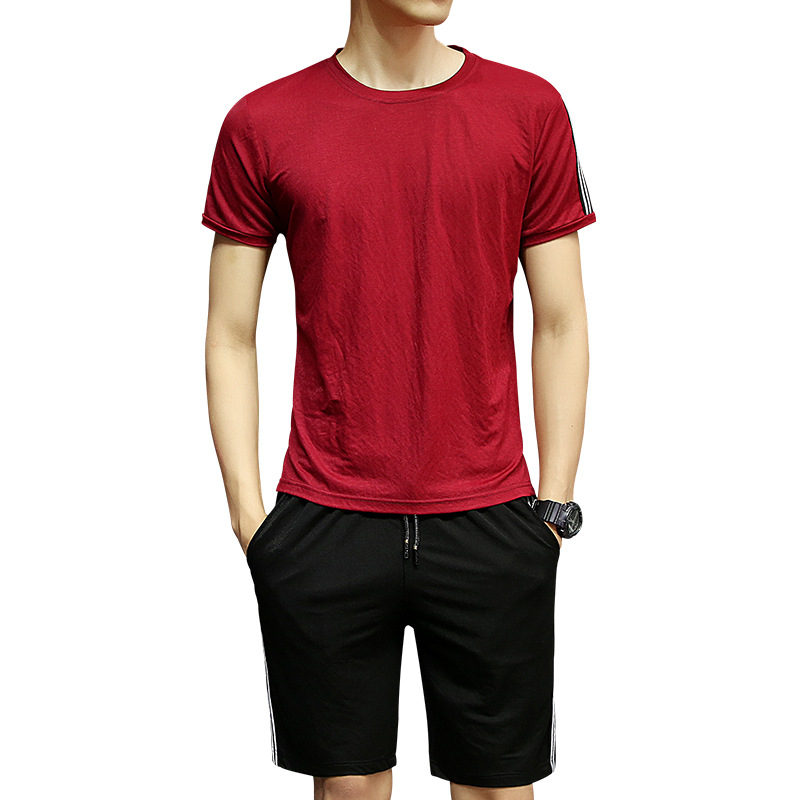 Men Summer Sports Set Casual Shorts Short Sleeve Viscose Running Fitness Suit Shorts Breathable Moisture Wicking