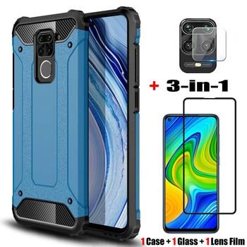 3-in-1, glass + bumper case for redmi note 9pro xiaomi note 9 s shockproof silicone cases redmi 9s note9 pro cover redmi9 note9s