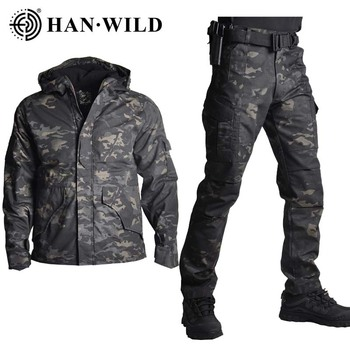 G8 Jacket Set with Pants Camouflage Military Army Tactical Uniform Combat Pants Hunting Clothes Airsoft Hiking Suit Adjustable soqoool tactical softshell camouflage jacket set army windbreaker waterproof hunting clothes military uniform jackets and pants