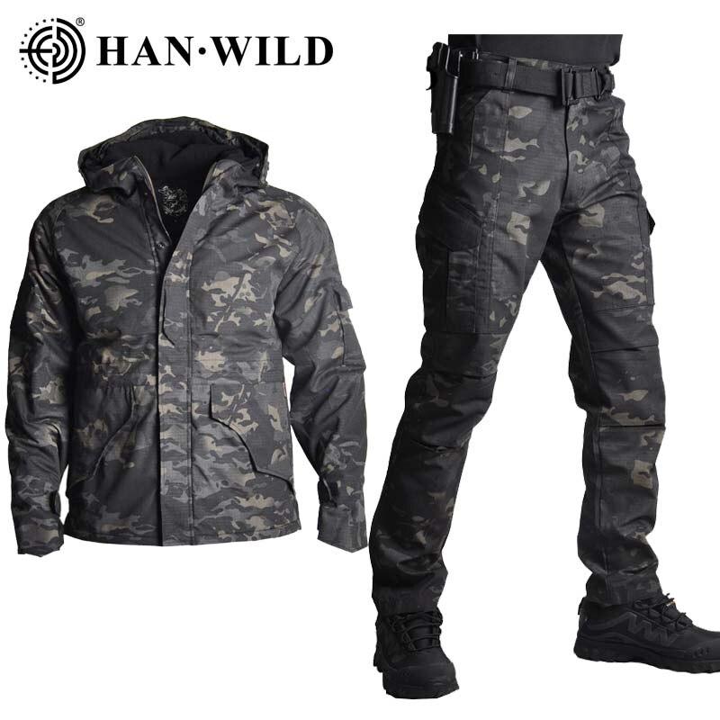 G8 ceket pantolon ile Set kamuflaj askeri ordu taktik üniforma savaş pantolon avcılık giysileri Airsoft avcılık Suit ayarlanabilir