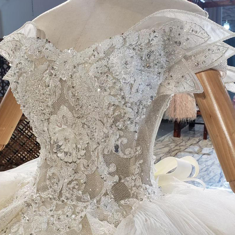 HTL1839 Luxurious Sequined Beading Crystal Pearls Wedding Dress 2020 V-Neck Short Sleeve Ball Gowns 5