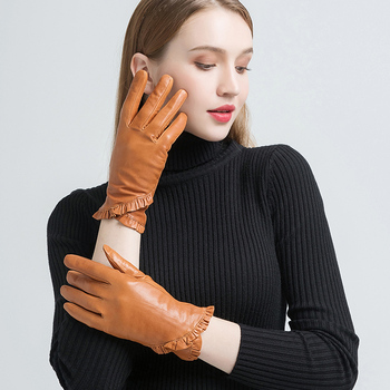 NH Womens Genuine Leather Gloves Fashion Light Brown Real Goatskin Finger Soft Warm In Winter Floral Border New Arrival