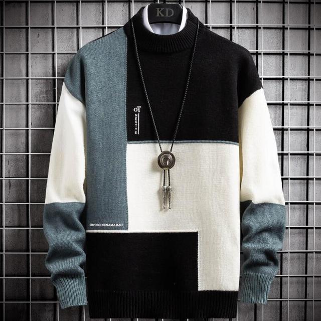 Suéter cálido de Cachemira para hombre, jersey de cuello alto, suéteres en forma de retales, Tops tejidos de Navidad, invierno, nuevo 1