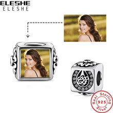 Eleshe Nyata 925 Sterling Silver Horseshoe Charm Manik Fit Asli Manik Gelang Disesuaikan Photo Square Pesona Wanita Perhiasan(China)
