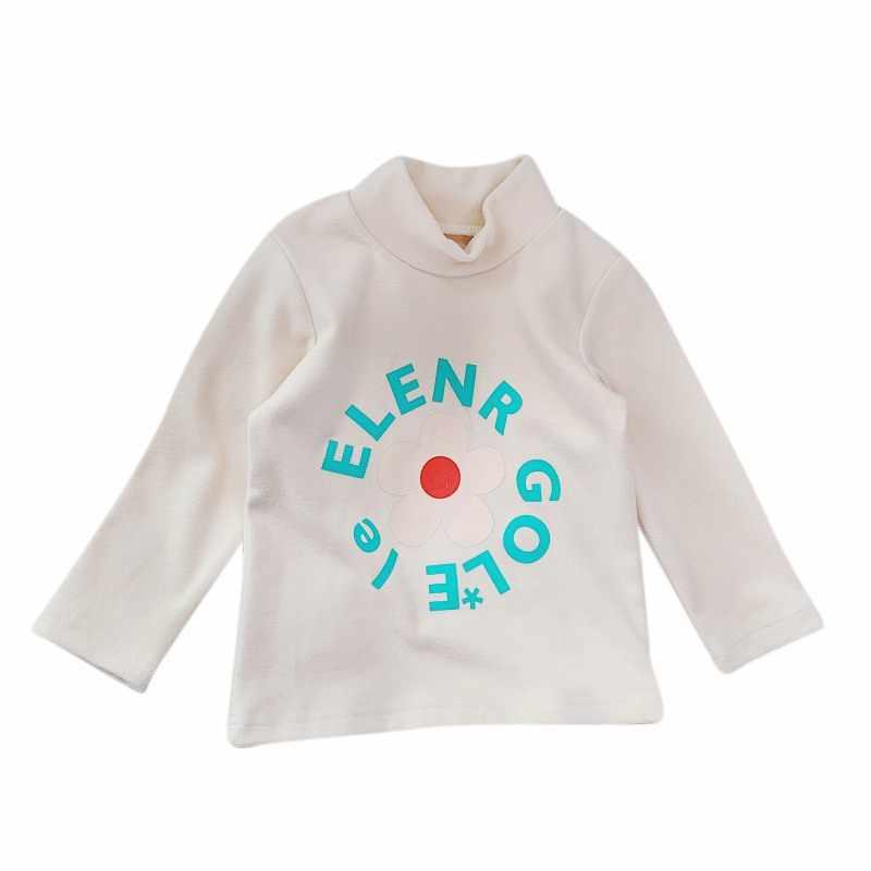 Детская модная повседневная водолазка с длинными рукавами и цветочным узором для девочек