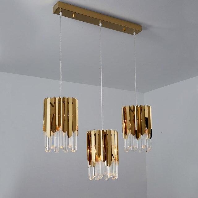Modern lüks altın kristal küçük yuvarlak avize aydınlatma Led yemek odası yatak odası armatürleri mutfak adası