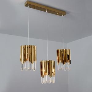 Image 1 - Nowoczesny luksusowy złoty kryształ mały okrągły żyrandol oświetlenie Led do jadalni wyposażenie sypialni kuchnia wyspa