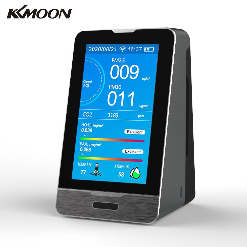 KKMOON TUYA WIFI 4,3 дюймовый светодиодный дисплей Интеллектуальный CO2 HCHO TOVC детектор газа PM2.5 PM1.0 PM10 Измеритель температуры и влажности
