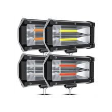 Белый светильник синий COB Автомобильный светодиодный рабочий светильник бар 5 дюймов 72W фары для Тринокулярный двухрядные Светодиодные лен...