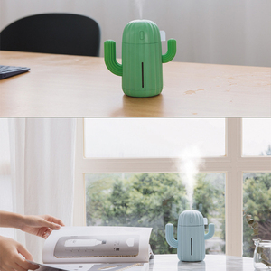 Cute Cactus Air Humidifier with Led Night Light for Home Car Office Desk - Create Clean & Fresh Air - USB or Battery Powered