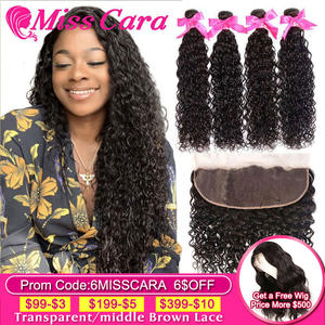Water-Wave-Bundles Closure Human-Hair Frontal Miss-Cara Peruvian with Remy