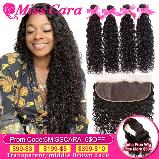 $ US $67.60 Peruvian Water Wave Bundles With Frontal Miss Cara Remy Human Hair 3/4 Bundles With Closure Lace Frontal Closure With Bundles