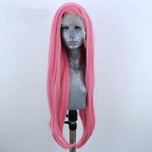 Bombshell розовые прямые волосы синтетический парик фронта шнурка натуральные волосы линия жаропрочных волокон волос сторона расставания для женщин парики