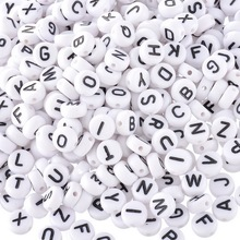 1000pcs 6mm 7mm Letter Beads Square Round Letter Alphabet Beads Acrylic Beads DIY Jewelry Making Bracelet Necklace Accessories