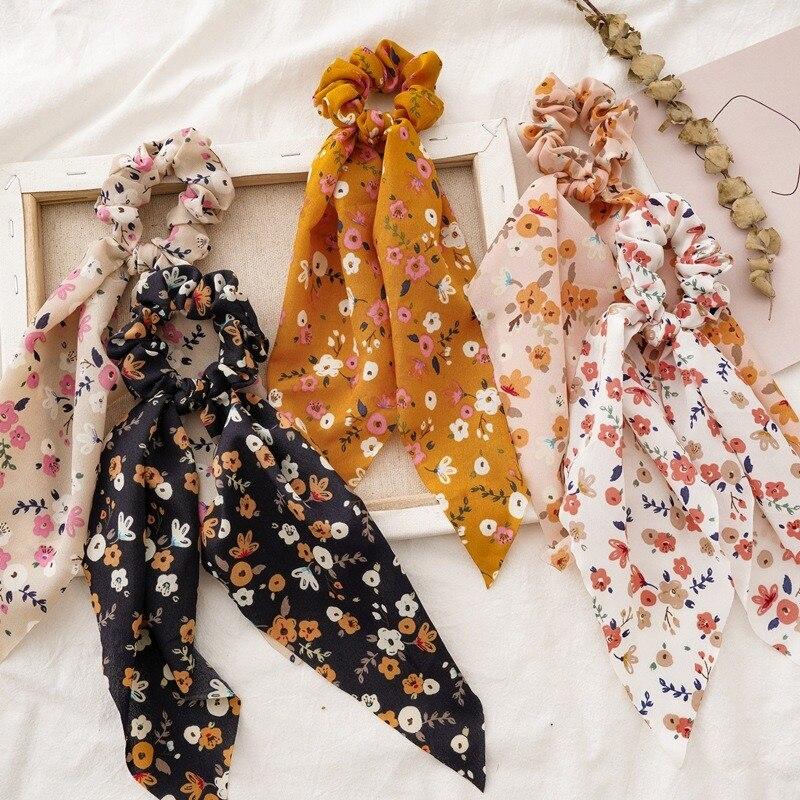 Резинки для волос с цветочным принтом для женщин, эластичные резинки для волос, стринги, бант, шарф для волос, резинки для волос, модные аксес...