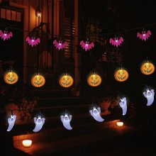 все цены на metable Set of 3 Battery Operated 11.5ft Pumpkin Bat Ghost Decoration Lights with 30 LED Lights Each for Halloween, Christmas