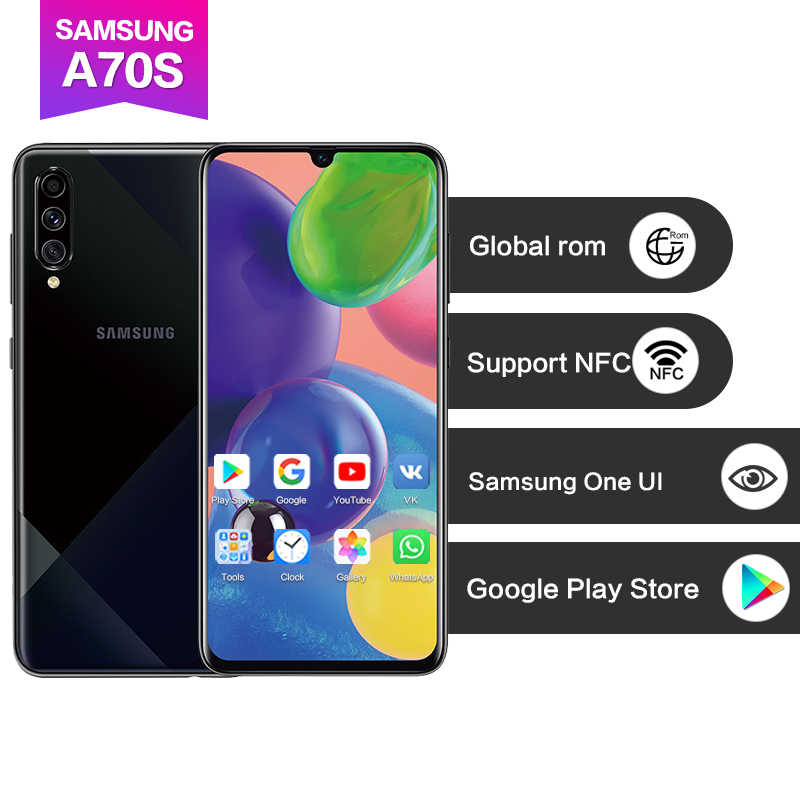 "Samsung Galaxy A70s 6.7 ""8x zoom Support NFC Google Play Super AMOLED 25W Supercharge 4500mAh visage + empreinte digitale ID 4 caméras 64MP"