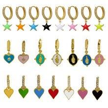 1 peça banhado a ouro esmalte balançar brincos para mulheres charme gota brinco vários estilos polonês minimalista jóias