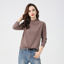 LHZSYY 2019Autumn Winter New 100%Pure Cashmere Sweater Fashion Loose Women Half-High Collar Knit Pullover Short Warm Wild Blouse