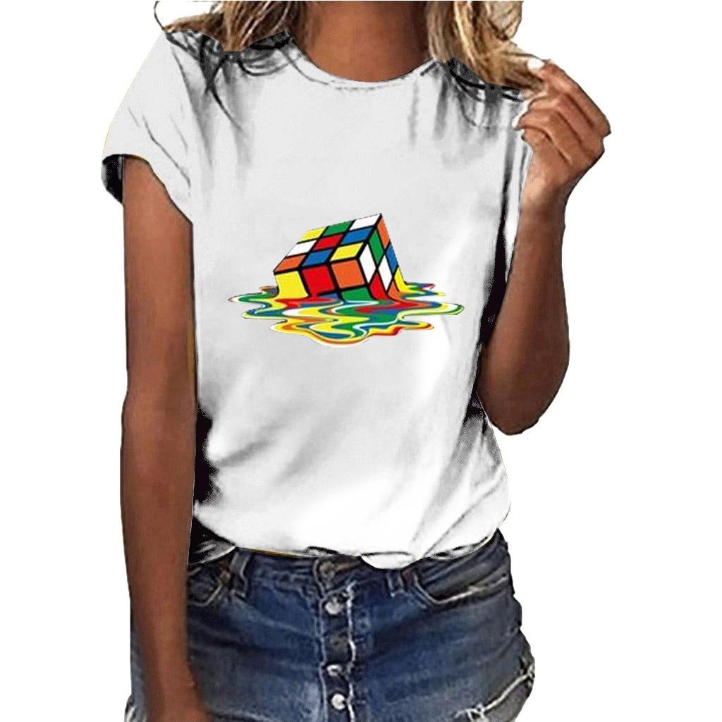 Hillbilly Rubik's Cube Graphic Tees&tops Camisetas Mujer Manga Corta Casual Women Big Bang Theory Tee Streetwear Cotton T Shirts