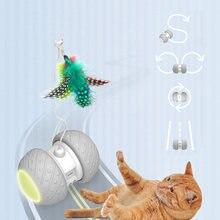 Jouet intelligent interactif pour chat, Mode de rotation irrégulier, jeu amusant pour animal de compagnie, accessoire électronique avec plumes, boules et LED lumineuses