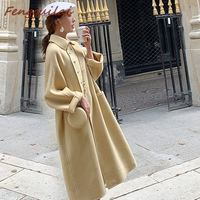 2019 New Women Outerwear Autumn Winter Clothing Fashion Warm Woolen Blends Slim Female Elegant Single Breasted Woolen Coat