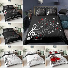 3D Digital Duvet Cover Music Note Printed Bedding Set Beating Comforter Cover Kids Adult Bedding Set for Winter US/EU/AU Size