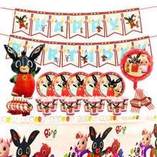 Coelho bing fontes de festa de aniversário coelho e amigos decoração de aniversário das crianças dos desenhos animados tema festa utensílios de mesa balão