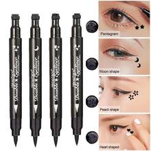 Double-Headed Seal Black Eyeliner Triangle Seal Eyeliner 2-in-1 Waterproof Eyes Make kit with Eyeliner Pen Black Eyeliner Stamp(China)