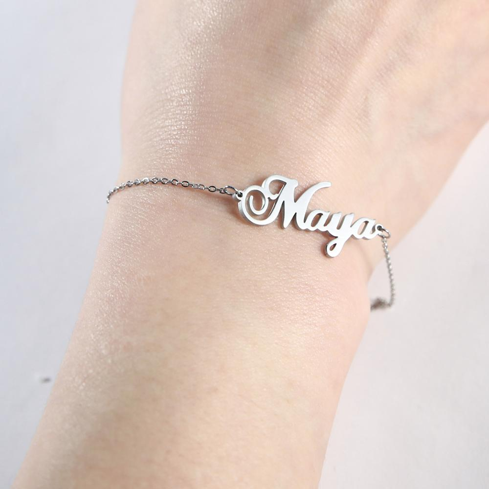 Personalized Custom Name Bracelet For Women Men Stainless Steel Jewelry Family Name Bracelets Girls Boys Gift
