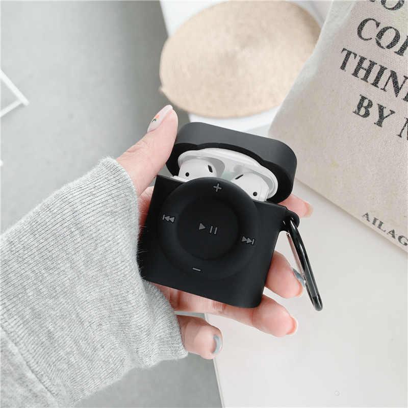 クリエイティブ 3D MP4 シリコーンイヤホンスキンケースのためのapple airpods 1 2 3 プロbluetoothワイヤレスヘッドセットカバー