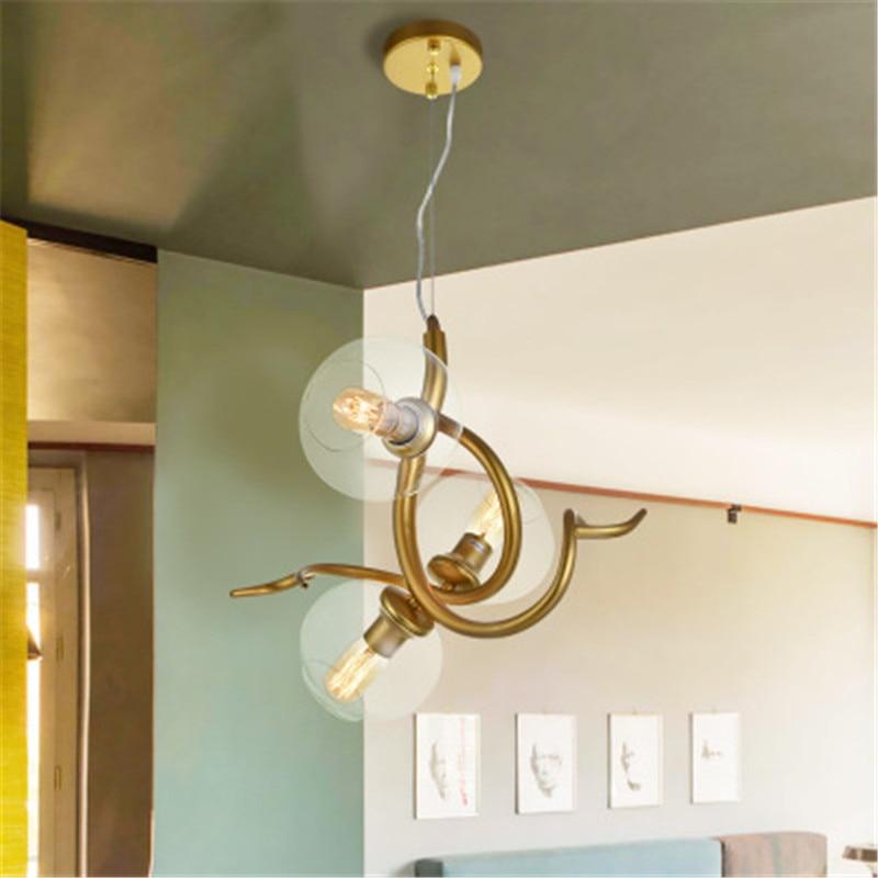 1/2/3 Heads Nordic Glass Bubble Chandelier Art Horns Antlers Branches Design Livingroom Clothes Shop Restaurant Suspension Lamp