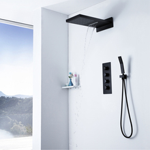 Rinafll Waterfall Shower Heads Brass Thermostatic Faucets Wall Mounted Black Square Hand Hold Rain