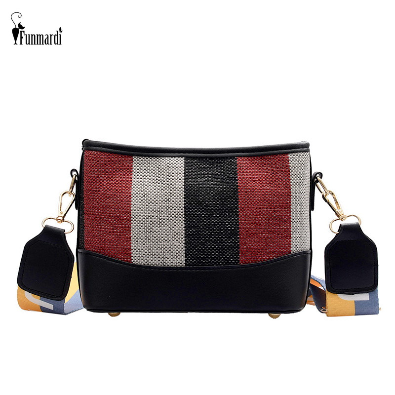 FUNMARDI Fashion Panelled Women Bucket Bags Stripe Canvas Patchwork Crossbody Bags PU Leather Shoulder Bag Wide Strap WLHB2104