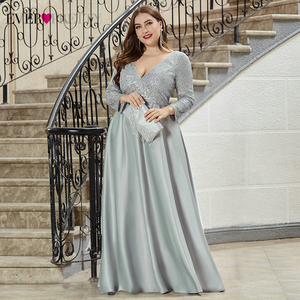 Image 2 - Plus Size Satin Evening Dresses Ever Pretty Sequined Deep V Neck Long Sleeve Elegant Formal Dresses EP00817 Robe Soirée En Satin