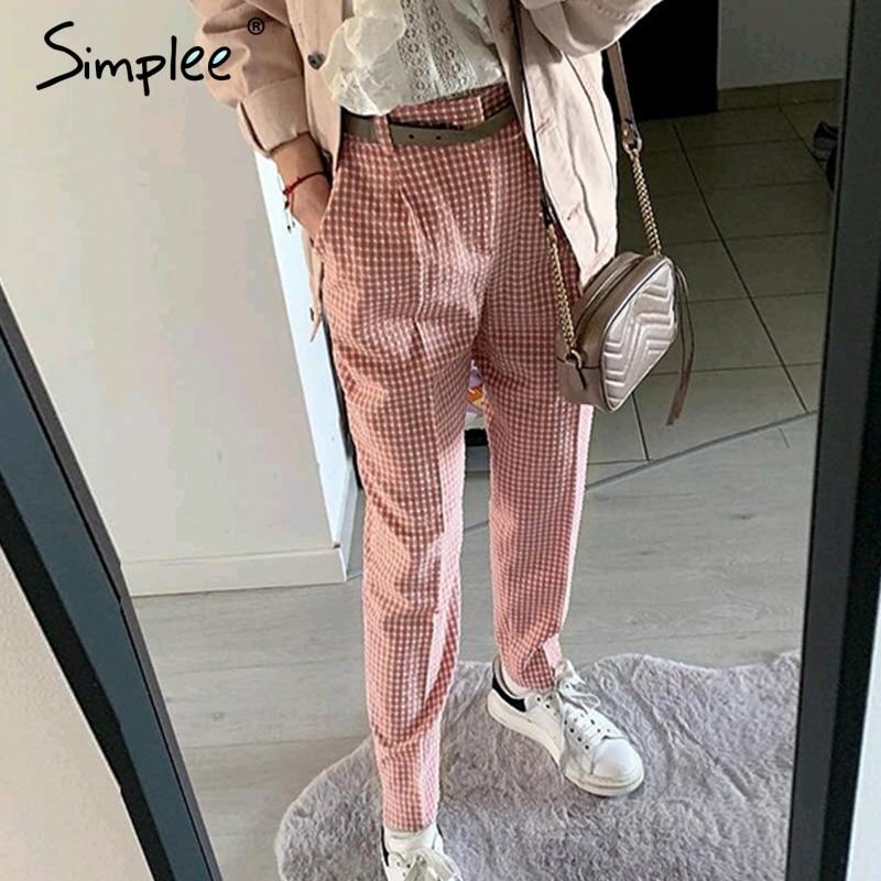 Simplee Pink Plaid Casual Pants Women 2019 Summer Vintage Work Pants Capris Female Straight Office Ladies British Style Trousers