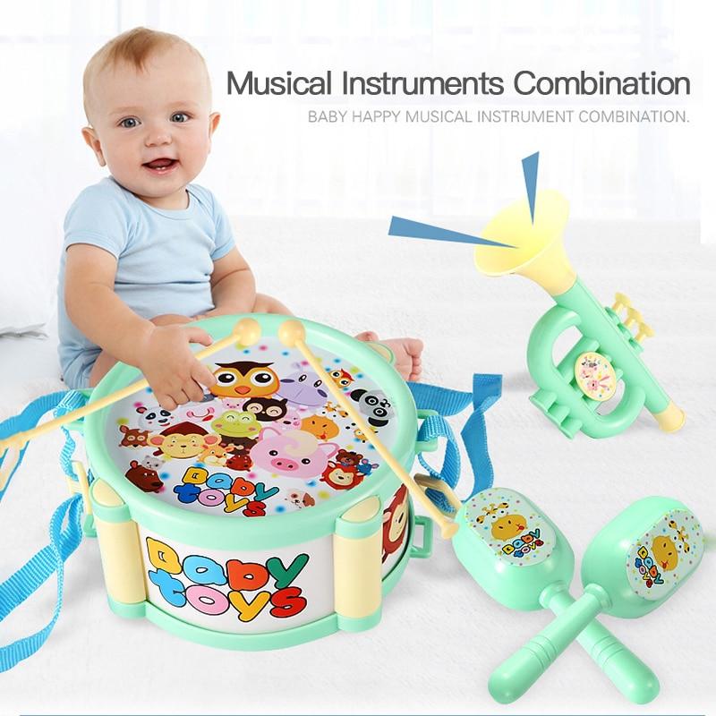 Детский барабанный Трубач-игрушка музыка ударный инструмент пополняемый набор Ранние обучающие образовательные игрушки для малышей и дет...