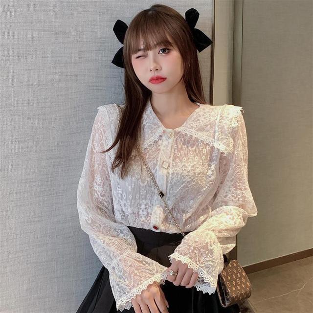 Long Sleeve Lace Blouse Shirt Blouse Women Blusas Mujer De Moda 2021 Beading Turn Down Collar Blouse Blusa Women Blouses E297 4