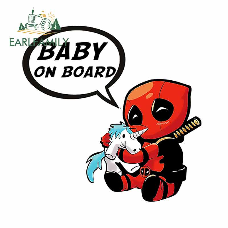 EARLFAMILY 13cm x 13cm For Baby on board DeadPool Car Stickers And Decal Occlusion Scratch Waterproof Vinyl 3D DIY Sticker