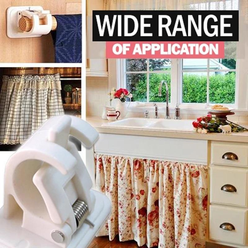 2/4/6pcs Nail-free Adjustable Rod Bracket Holders Self-adhesive Wall Mount Curtain Pole Wall Brackets for Home Bathroom IQ6