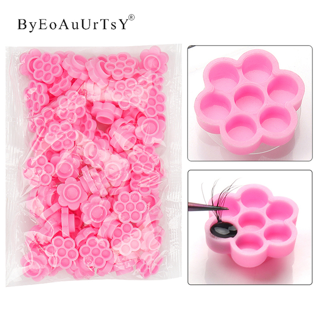 100 Pcs Grafting eyelash pink delay cup Eye Lashes Glue Holder Blossom delay cups Eyelash Extension women Makeup Tools 1
