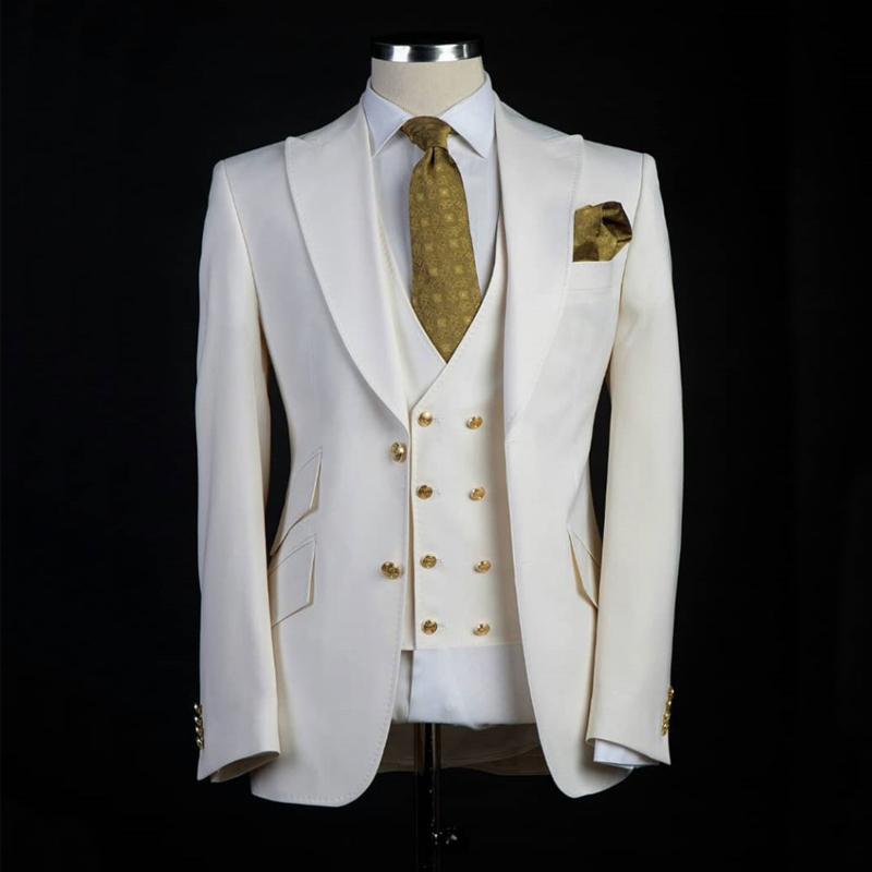 Tailor Made Slim Fit Men Suits For Wedding Prom Party 2019 3 Piece Peaked Lapel Custom Groom Tuxedos Ivory Set Jacket Pants Vest