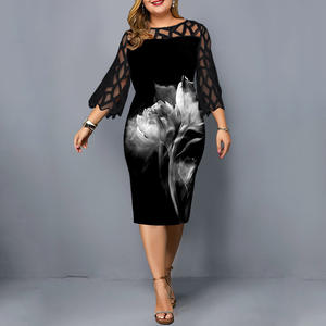 Dress Elegant Lace-Sleeve Sheer D25 Chic Black Evening Casual Printed Plus-Size Women