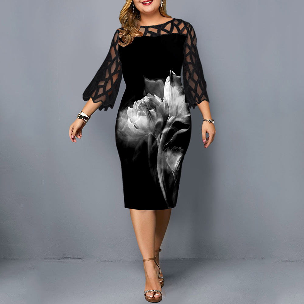 L-6XL Women Plus Size Dress Elegant Ladies Black Sheer Lace Sleeve Dress 2020 Chic Casual Printed Lace Evening Party Dresses D25