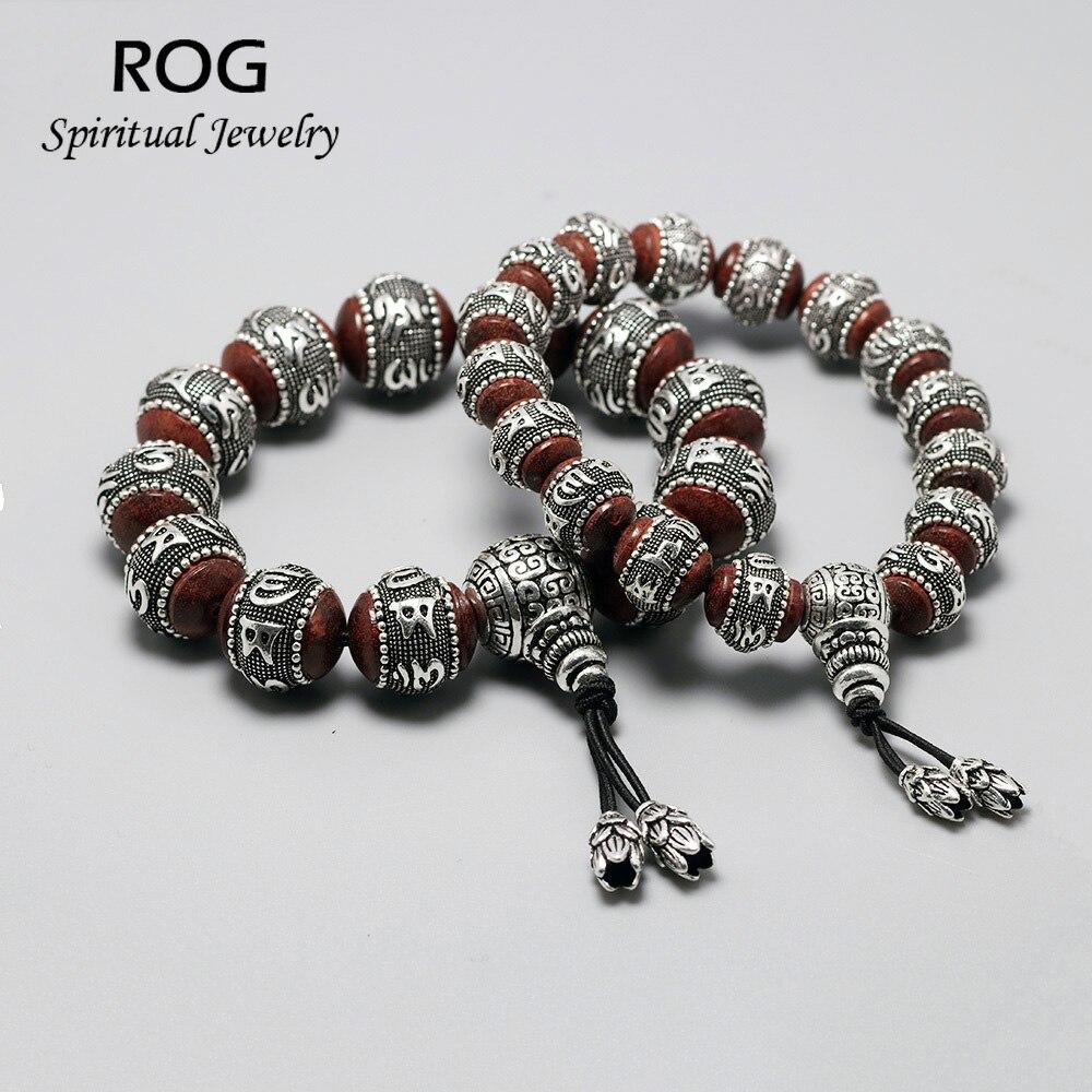 Om Mani Padme bourdonnement perles Mantra Bracelet sandale bois incrusté 925 argent Sterling Bracelet pour hommes femmes tibétain bouddhiste bijoux