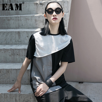 [EAM] Women Black Gray Contrast Color Split Joint T-shirt New Round Neck Long Sleeve  Fashion Tide  Spring Summer 2020 1W038