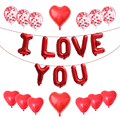 15 шт., фольга с надписью «I Love You», шары с красным сердцем, конфетти, хромированные металлические шарики, набор, подарок на день Святого Валент...